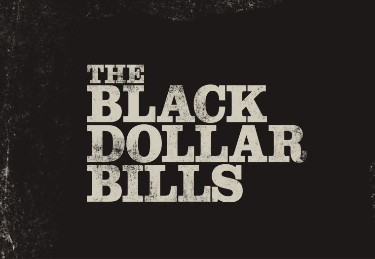 Logo design for Black Dollar Bills, a four-piece rock and roll band from Birmingham. Further merch and promo design work here.