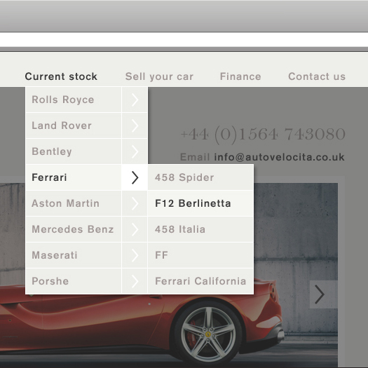 Auto Velocita Dropdown Menu Design