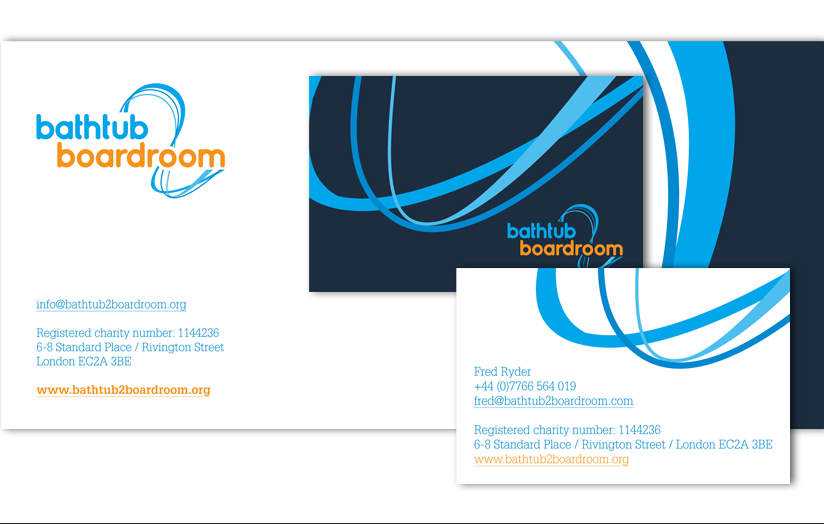 The brand identity implemented across the corporate stationery.