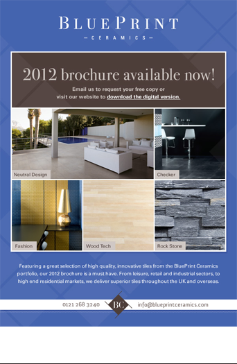 Email newsletter design promoting the launch of BluePrint's 2012 brochure.