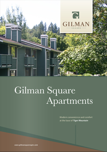 Gilman Square Apartments brochure design - front cover