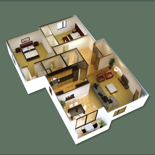 Example of an apartment three-dimensional floor plan