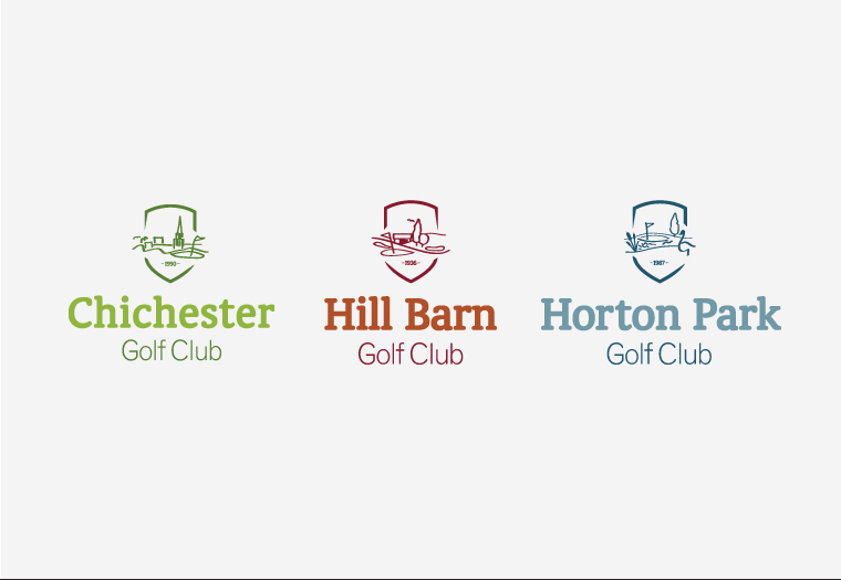 Family of identities designed for a group of golf courses in the South East of England.