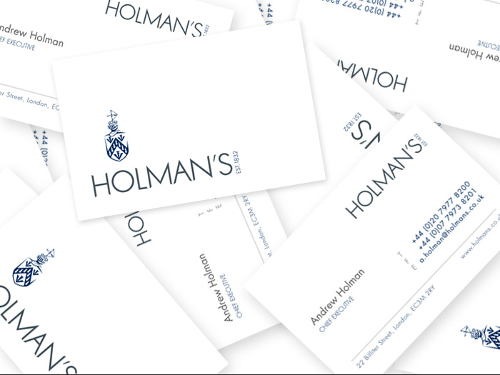 Holman's business card design.