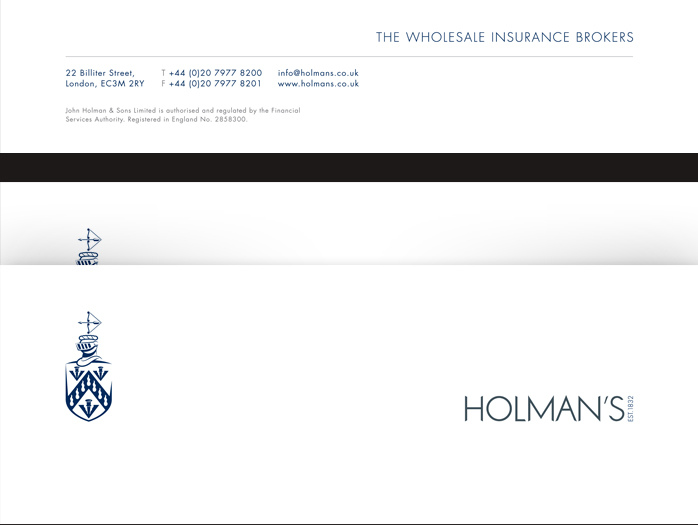 Holman's corporate stationery letterhead design.