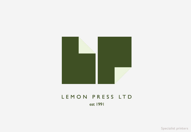 Proposed logo redesign for Lemon Press specialist printers. Two sheets of paper are folded to form the company's initials within the pictogram.