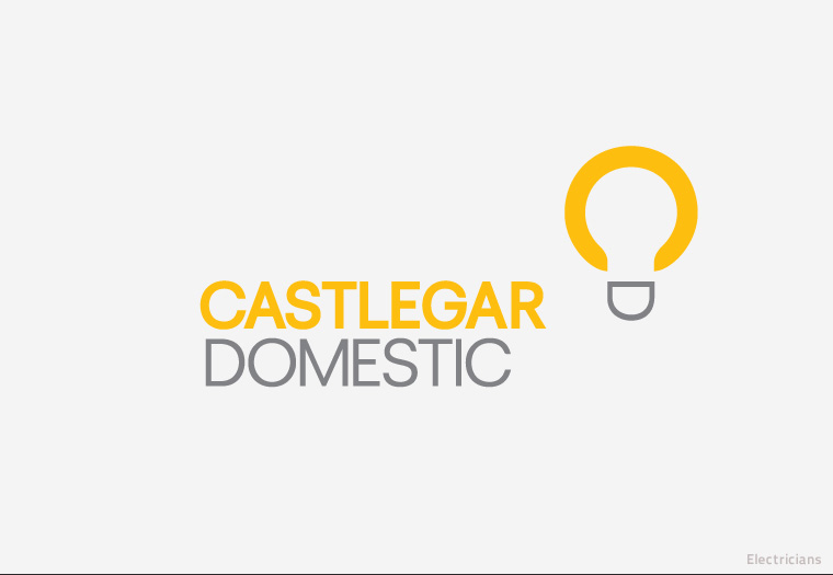Logotype for Surrey electricians, Castlegar Domestic. The company's initials have cleverly been turned on their side to form the shape of light bulb.