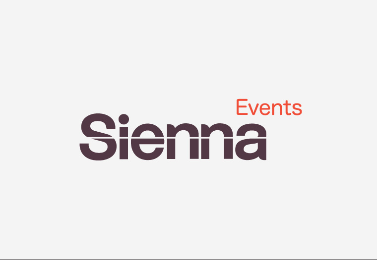A modern identity design for a modern company. Sienna Events are innovative events planners and promoters.