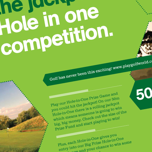 Close-up of a Playgolf promotional poster showing detail of the brand style and typographical layout.