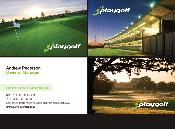 Direction for the use of the Playgolf corporate identity on photography and business stationery.
