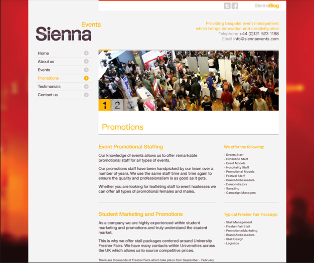 A further example of Sienna's newly branded website.
