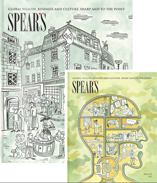 Spear's issues 28 and 29 cover illustrations